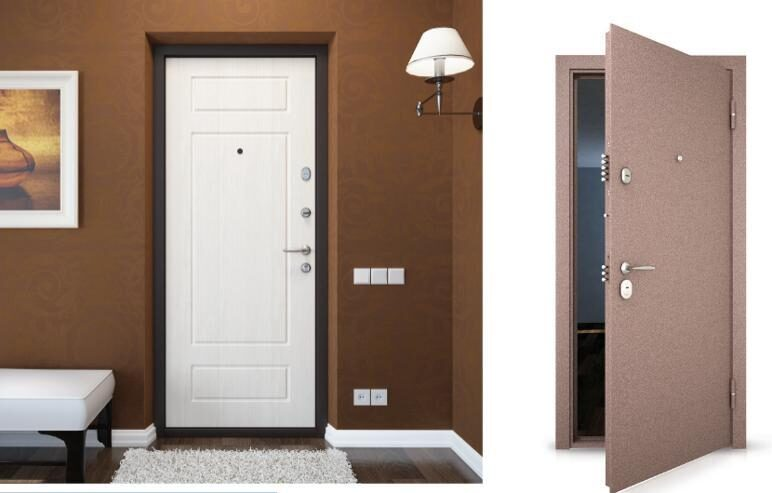 входная дверь с белой внутренней отделкой